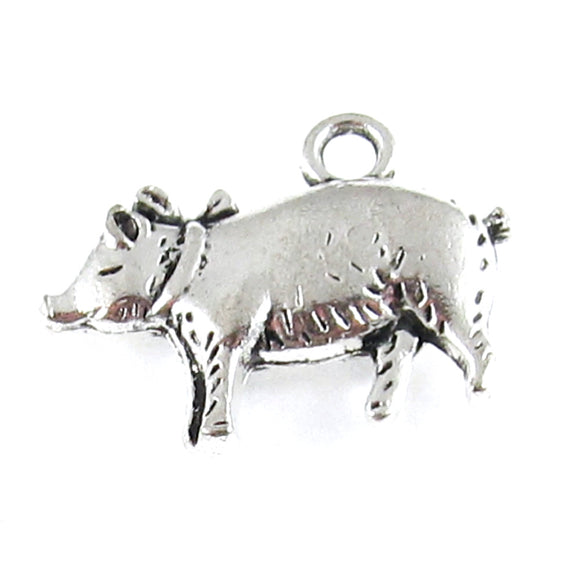 Silver Pig Charms Metal Farm Hog 18x20mm (10 Pieces)