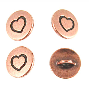 Copper Small Heart Buttons + Shank Back, TierraCast 12mm 4/Pkg