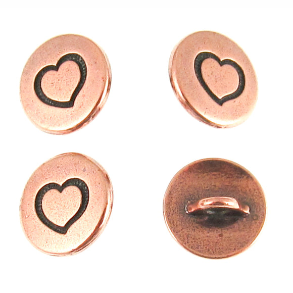 Copper Plated Small Heart Buttons TierraCast Pewter 12mm (4 Pieces)