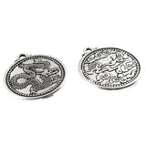 Silver Dragon Coin Pendant, TierraCast Chinese Lucky Symbol (2 Pieces)