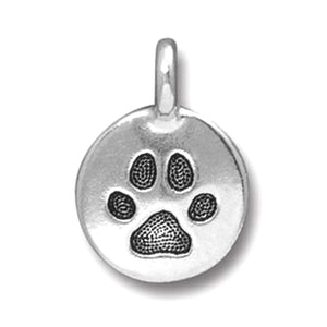 Silver Paw Print Charms, TierraCast Pewter Dog Pet Charm (2 Pieces)