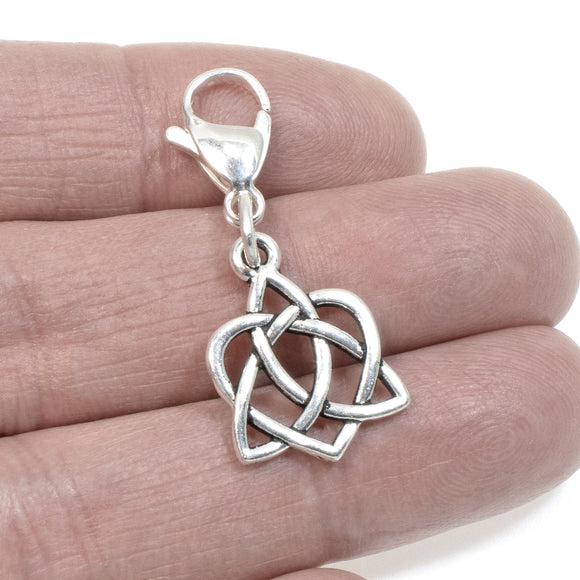 Silver Celtic Knot Heart Clip on Charm, Zipper Pull, Purse Charm
