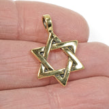 Gold Star of David Pendant, TierraCast Jewish Unisex Charm 1/Pkg