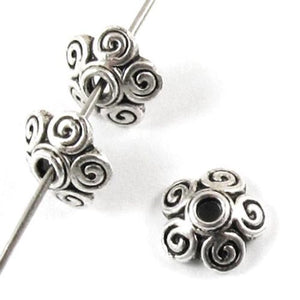 Silver Metal Bead Caps with Swirl Design