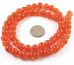 Orange 8mm Round Glass Crackle Beads, Halloween Fall Beads 50/Pkg
