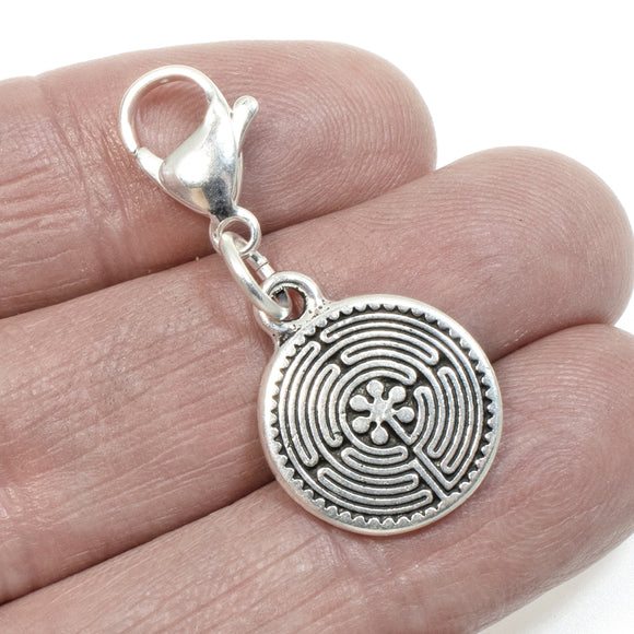 Silver Labyrinth Clip on Charm, Zipper Pull, Purse Charm