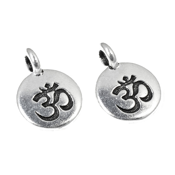 Silver Round Om Charms, TierraCast Hindu Ohm Yoga Charms (2 Pieces)
