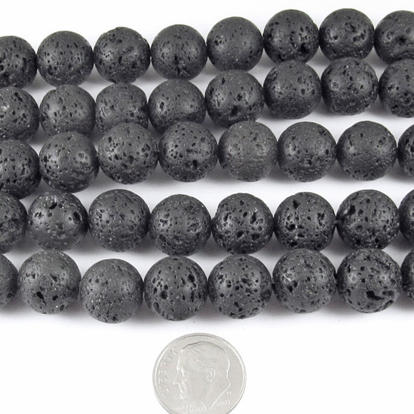 Round Volcano Beads-Black Lava Rock 15