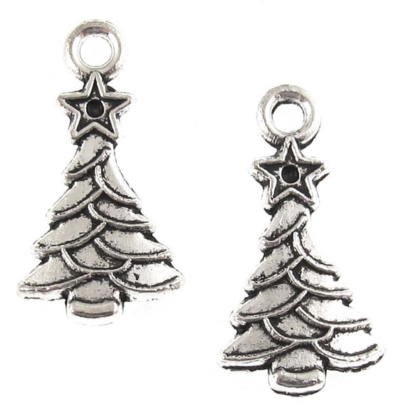 Silver Christmas Tree Charm, Metal Holiday Charms 11x20mm (20 Pieces)