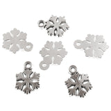 Silver Mini Snowflake Charms, Metal Christmas Holiday Charm 50/Pkg
