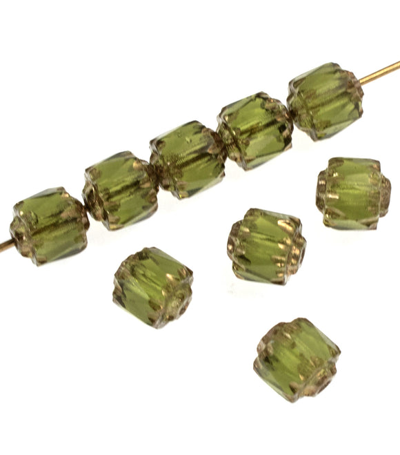 Olive Green Faceted 6mm Crown Cathedral Beads, Czech Glass (25 Pieces)