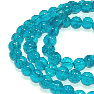 Aqua Blue 6mm Round Glass Crackle Beads 100/Pkg
