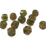 Olive Green Faceted 8mm Crown Cathedral Beads, Czech Glass (12 Pieces)
