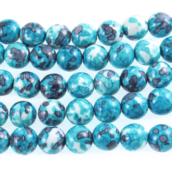 10mm Aqua Blue and Gray Rain Flower Stone Round Beads 15