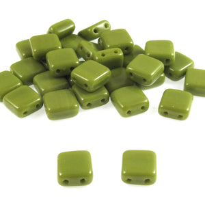 Opaque Green Square Tile Beads