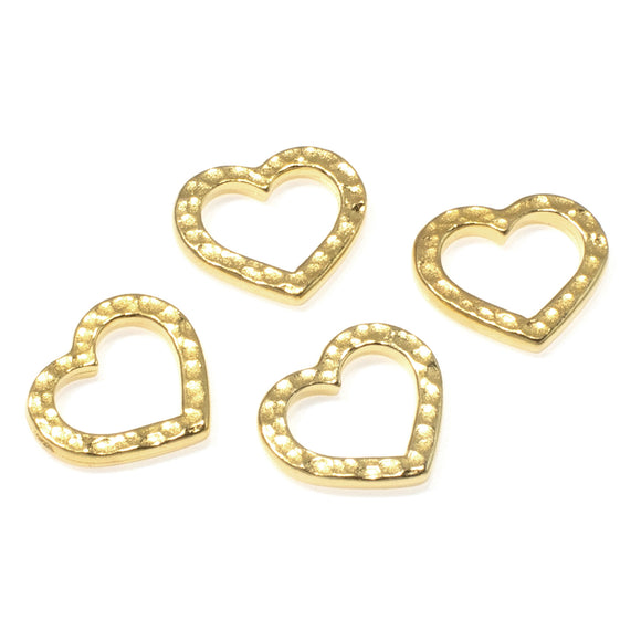 Gold Hammered Heart Links, TierraCast Distressed Open Connectors 4/Pkg