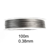 100M Tiger Tail 0.38mm, Silver Beading Wire, Jewelry Cord