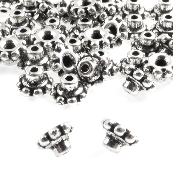 Silver Beaded 6mm BeadAligner + 2mm Peg, Large Hole Bead Stabilizers 50/Pkg