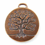 Copper Tree of Life Pendant, TierraCast Double Sided Tree Charms 1/Pkg