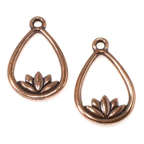 Copper Lotus Teardrop Pendants, TierraCast Yoga Meditation Charm 2/Pkg