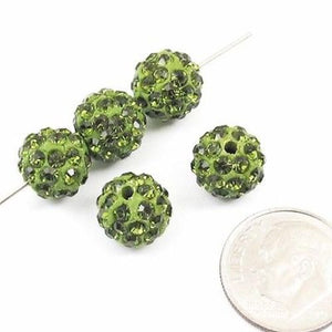 Olive Green Round Beads Shamballa Rhinestone Clay Pave 10mm (5 Pieces)