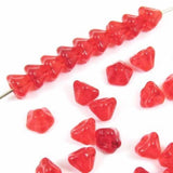 Siam Red Baby Bell Flower Beads, Czech Glass, 4x6mm (50 Pcs)