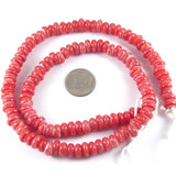 "17"" Rondelle Christmas Glass Beads-Red and White Zig Zag 4x8mm (110)"