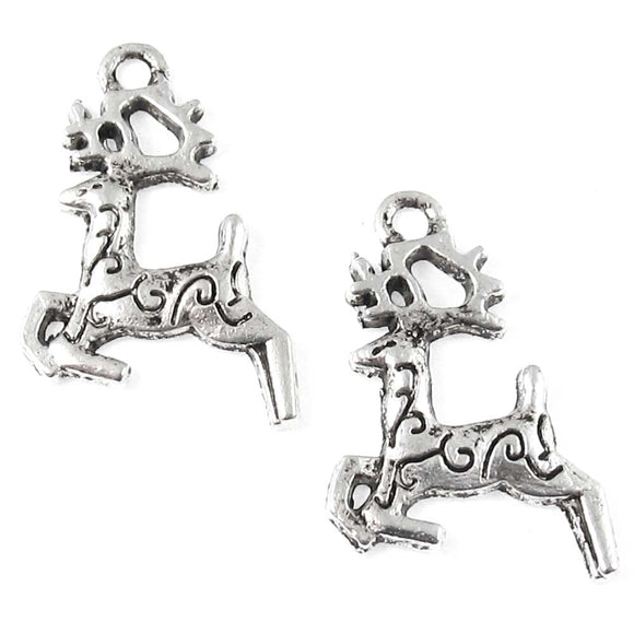 Silver Prancing Reindeer Charms, Metal Christmas Swirl Deer 15x22mm (20 Pieces)