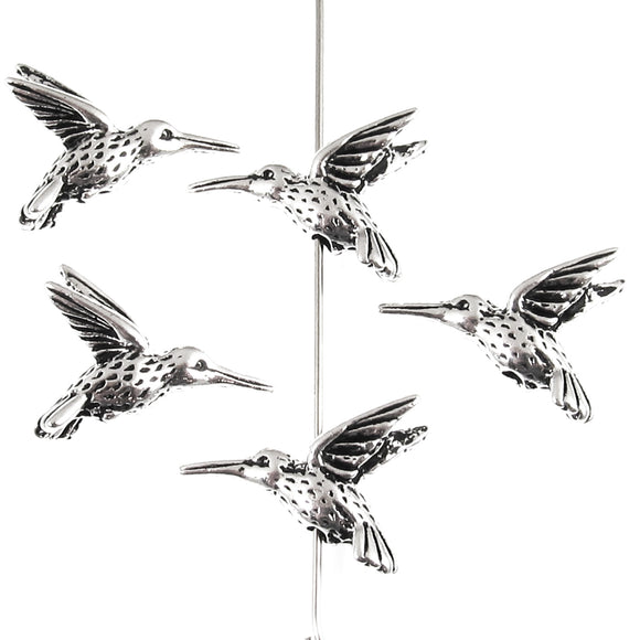 Silver Hummingbird Beads, TierraCast Pewter Bird, Animal (5 Pieces)