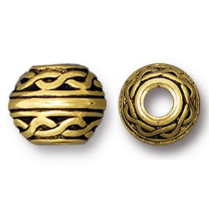 Gold Celtic 8mm Beads, Large 3mm Hole