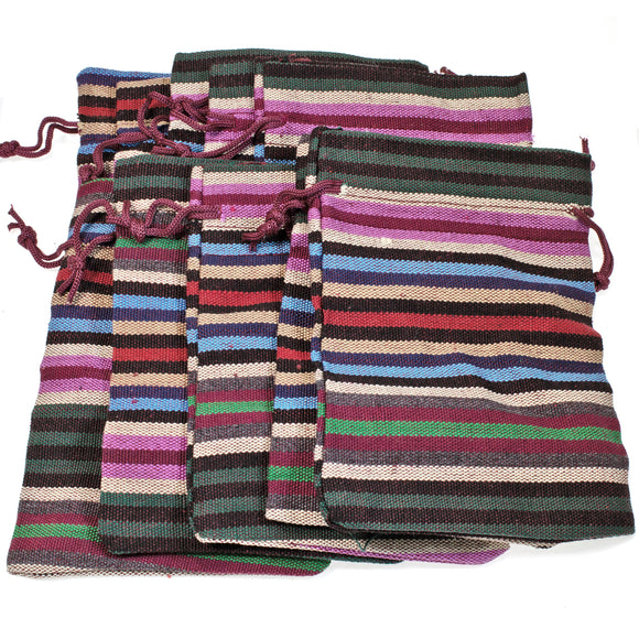 Striped Drawstring Bags, Ethnic Style Fabric Cloth Pouch 10/Pkg
