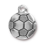 Silver Soccer Ball Charms, TierraCast Athletic Sports Charm 2/Pkg