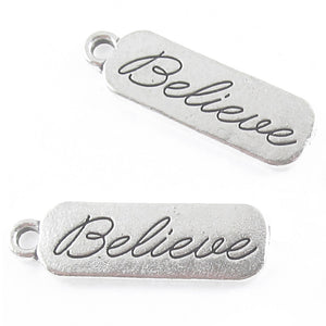 BELIEVE Rectangle Charms, Silver Metal Religious Bar Tag 29x9mm (5 Pcs)