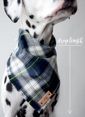 COBALT Fringed Flannel Dog Bandana - Snap/Tie On Cotton Scarf