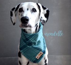 ARENDELLE Fringed Flannel Dog Bandana - Snap/Tie On Cotton Scarf