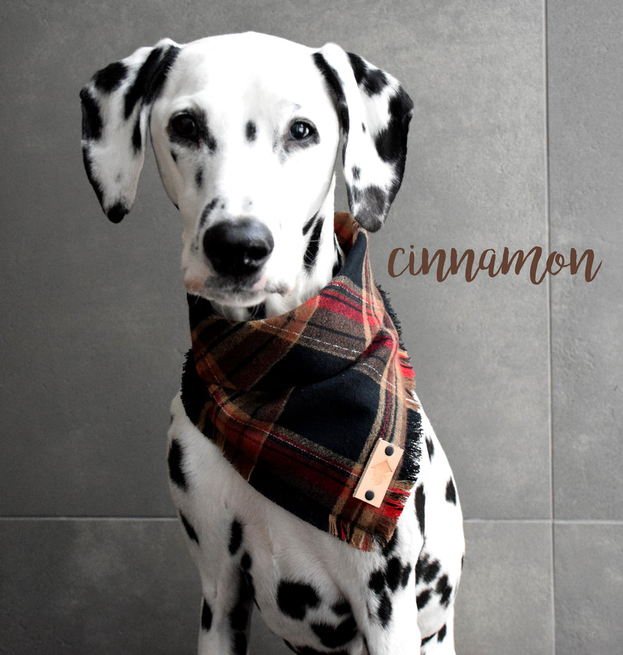 CINNAMON Fringed Flannel Dog Bandana - Snap/Tie On Cotton Scarf
