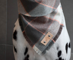 BLUSH Fringed Flannel Dog Bandana - Snap/Tie On Cotton Scarf