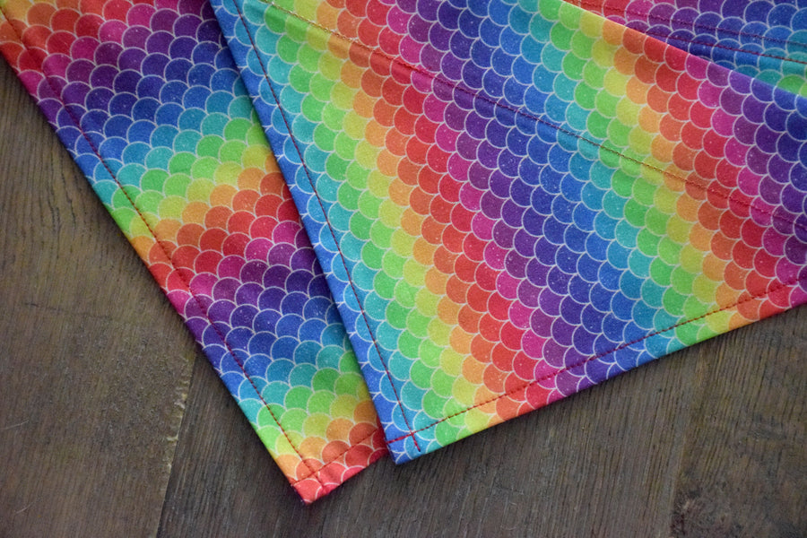 Dog Bandana - Rainbow Mermaid Pride Cotton Dog Scarf