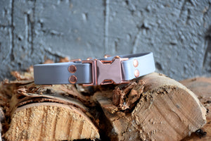 PREMADE COLLECTION - Grey & Rose Gold Biothane Dog Collar