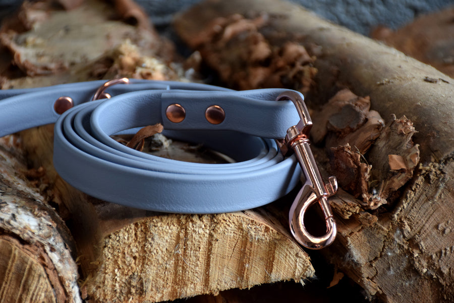 PREMADE COLLECTION - Grey & Rose Gold Biothane Dog Leash