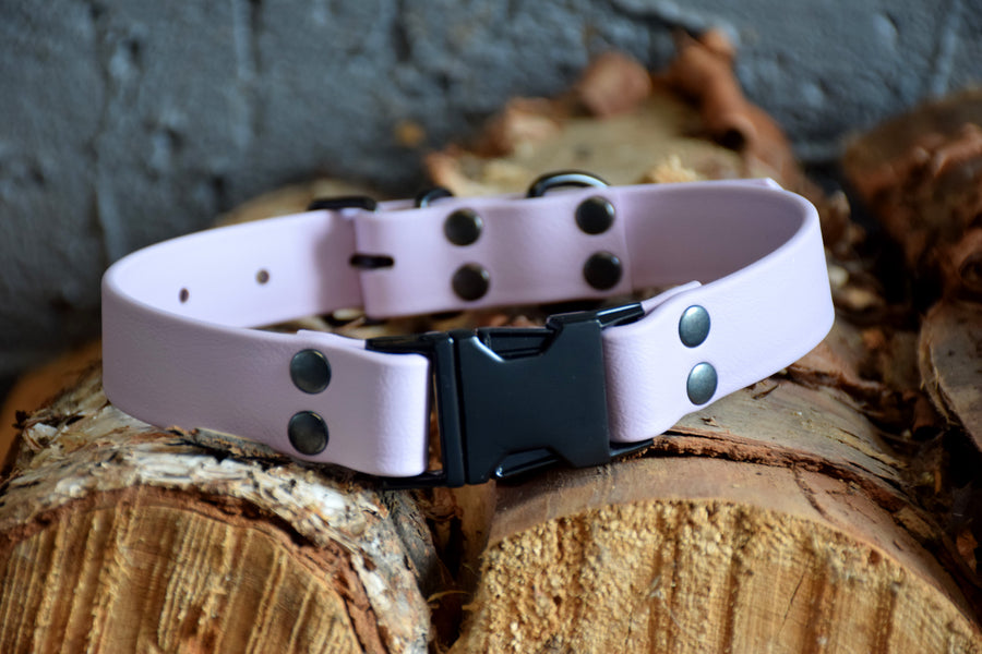 PREMADE COLLECTION - Pastel Purple & Black Biothane Dog Collar