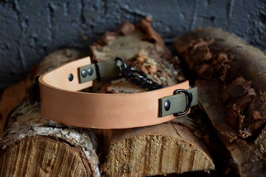 PREMADE COLLECTION - Natural Tan & Olive, Limited Edition Biothane and Leather Combo Martingale Dog Collar
