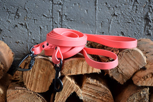 PREMADE COLLECTION - Coral & Black Biothane Dog Leash