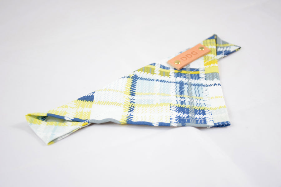 Dog Bandana - Grey Blue Plaid Cotton Dog Scarf