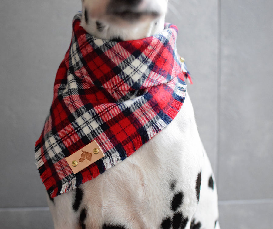 CHERRY Fringed Flannel Dog Bandana - Snap/Tie On Cotton Scarf