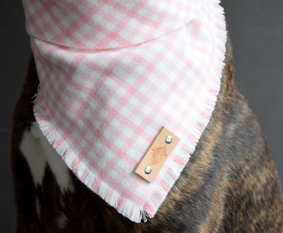 ÈTOILE Fringed Flannel Dog Bandana - Snap/Tie On Cotton Scarf