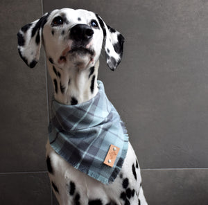 STEEL Fringed Flannel Dog Bandana - Snap/Tie On Cotton Scarf