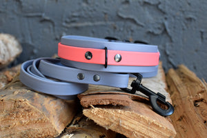PREMADE COLLECTION - Grey & Coral Biothane Dog Collar