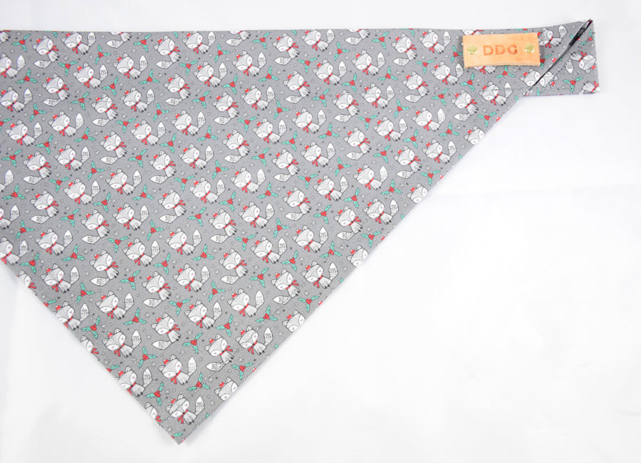 Dog Bandana - Santa Fox Winter Holiday Cotton Dog Scarf