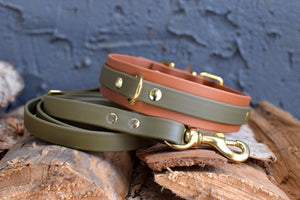 PREMADE COLLECTION - Tan & Olive Biothane Dog Collar